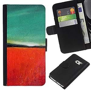 iBinBang / Flip Funda de Cuero Case Cover - Teal Red Painting Nature Autumn - Samsung Galaxy S6 EDGE SM-G925