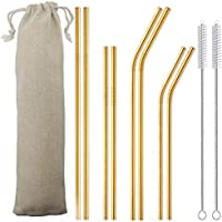 11 Pcs (8 Stainless Steel Straws for 30oz 20oz Tumblers Cups Mugs with 2 Cleaning Brushes and 1 Bag) (Gold)