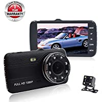 Dash Cam,Car Dash Camera FULL HD 1080p 170° Wide Angle 4 LCD Dashboard Camera DVR Video Recorder Dual Lens Front+Rear with HDR Night Vision,Loop Recording,Parking Mode,G-Sensor