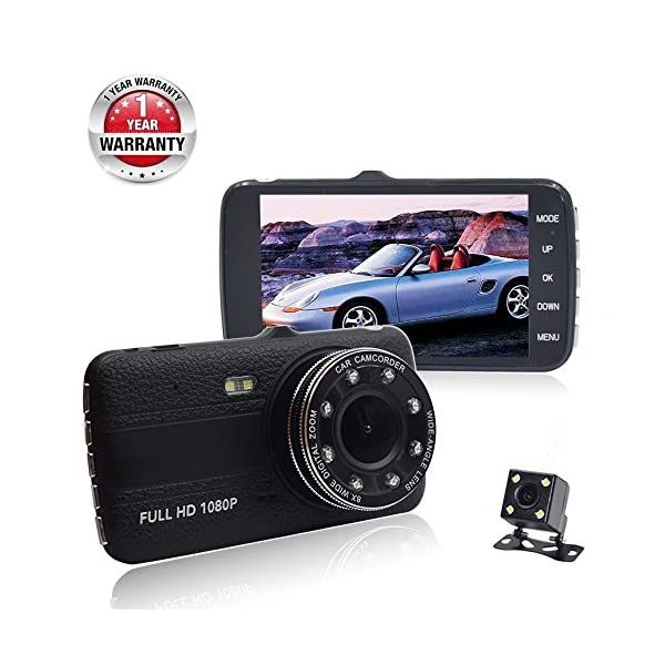 "Dash Cam,Car Dash Camera Full HD 1080p 170° Wide Angle 4"" LCD Dashboard Camera DVR Video Recorder Dual Lens Front+Rear With HDR Night Vision,Loop Recording,Parking Mode,G Sensor"