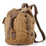 MeCool Men's Canvas Outdoor Backpacking for Travel Causal Rucksack Shoulder Sports Bike Daypack Vintage Bag,Brown For Sale