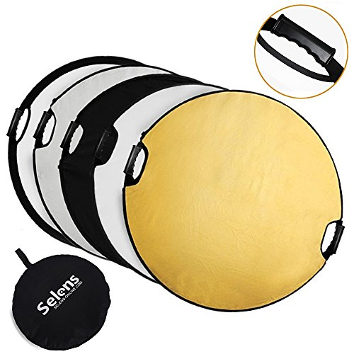 Selens 5-in-1 43 Inch (110cm) Portable Handle Round Reflector Collapsible Multi Disc with Carrying Case for Photography Photo Studio Lighting & Outdoor Lighting by Selens