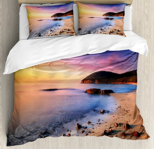 Ambesonne Beach Duvet Cover Set Queen Size, Famous Mediterranean Sun Rise on The Beach with Pebbles Tourism Serene View Print, Decorative 3 Piece Bedding Set with 2 Pillow Shams, Orange - Piece Set Mediterranean 3