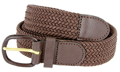 "Belts.com Leather Covered Buckle Woven Elastic Stretch Belt, Brown, (4XL(50-56"")"