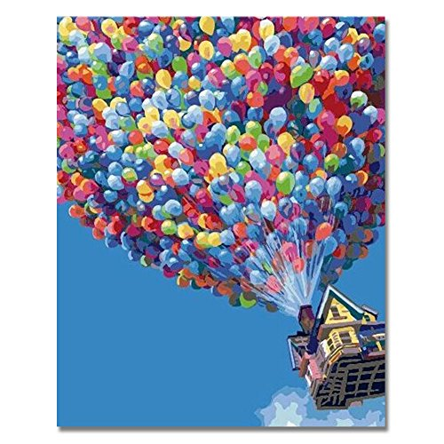 - RIHE DIY Oil Painting Paint by Numbers Kits with Brushes and Acrylic Pigment for Adults Kids Beginner - Hot Air Balloon 16x20 Inch(Wooden Framed)