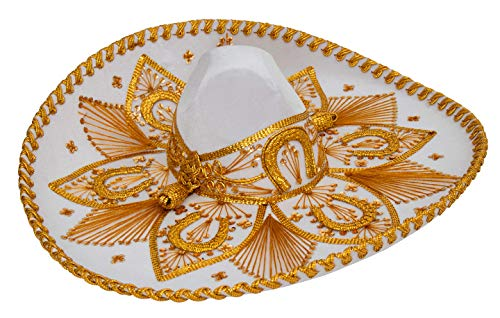 Premium Adult Mariachi Sombrero Charro Hat, Mexican Hat (White and Gold)]()