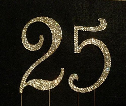 GOLD Rhinestone Crystal Covered 25 25th Anniversary Birthday Number Cake Topper - Rhinestone Cake Topper Number 25