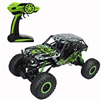 CR 1/10 Scale Oversize 2.4Ghz RC Rock Crawler Monster Vehicle Truck 4WD Radio Control Buggy Hobby Car RTR with LED Lights(Green)