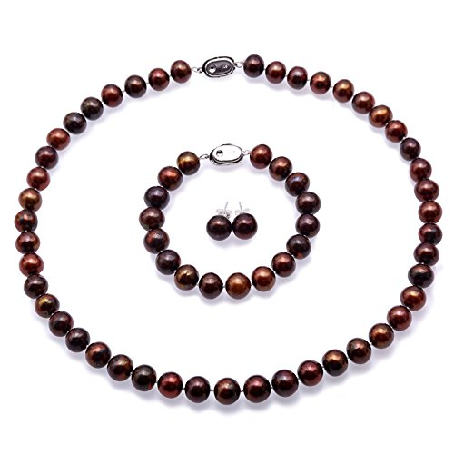 - JYX Pearl Necklace Set 9-10mm Flat Round Brown Freshwater Cultured Pearl Necklace Bracelet and Earrings Set