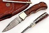 RA-5167-RW Custom made damascus steel folding lock back knife rose wood handle and brass bolster, For Sale