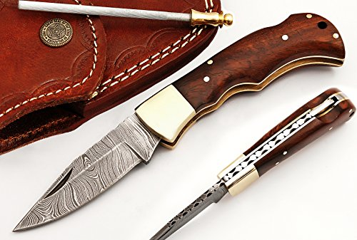 RA-5167-WN Custom made damascus steel folding lock back knife Walnut handle and brass (Steel Walnut)