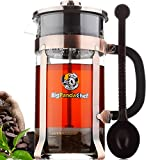 la cafetiere press - French Press - Coffee Press - French Press Coffee Maker - French Press Kit Set - Tea Press - Cooper French Press Glass - Best Cafetiere Coffee Plunger - Glass Press Pot - 4 Filters and Coffee Spoon