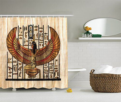Ambesonne Egyptian Decor Collection, Ancient Religion Historical Art Egyptian Parchment Texture Background Image, Polyester Fabric Bathroom Shower Curtain, Ivory Orange (Colors Textures Collection Parchment)
