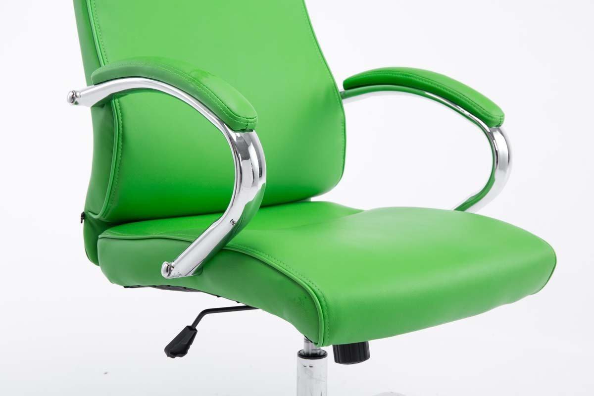CLP XXL Bürostuhl Bürostuhl XXL Lausanne mit Kunstlederbezug   Höhenverstellbarer Schreibtischstuhl mit gepolsterten Armlehnen   Drehstuhl mit Metallgestell und Laufrollen Grün 3372d1