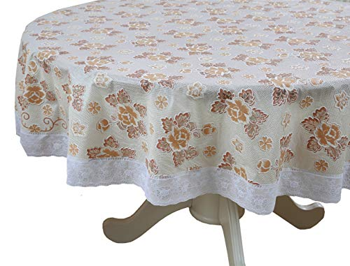 (Liberecoo PVC Floral Ivory Heavy Duty Fall Tablecloth with Wipeable Waterproof and Oil Proof Plastic Tablecloth Table Cover Vinyl Lace 70