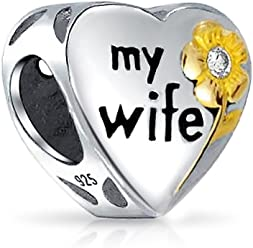 940c7cb90 Flower Daisy Two Tone CZ Heart Word Engrave My Wife Charm Bead 14K Gold  Plated 925