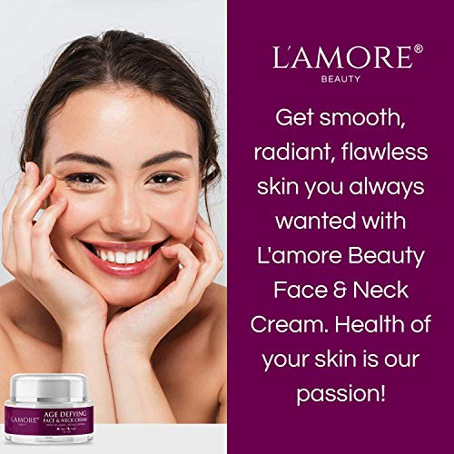 L'amore Beauty Age Defying Face and Neck Cream with Collagen and Retinol, 30ml - Facial Moisturizer for Women, Day and Night Cream, Hydrating Anti Wrinkle Neck Firming Cream - Made in USA
