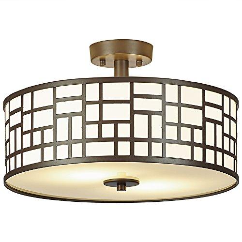 Flush Lighting Fixture (SOTTAE 2 Lights Outdoor/Indoor Modern Oil Rubbed Bronze Finished Metal Hanging Fixture lighting Flush Mount Ceiling Light,Ceiling Lamp( Diameter 16