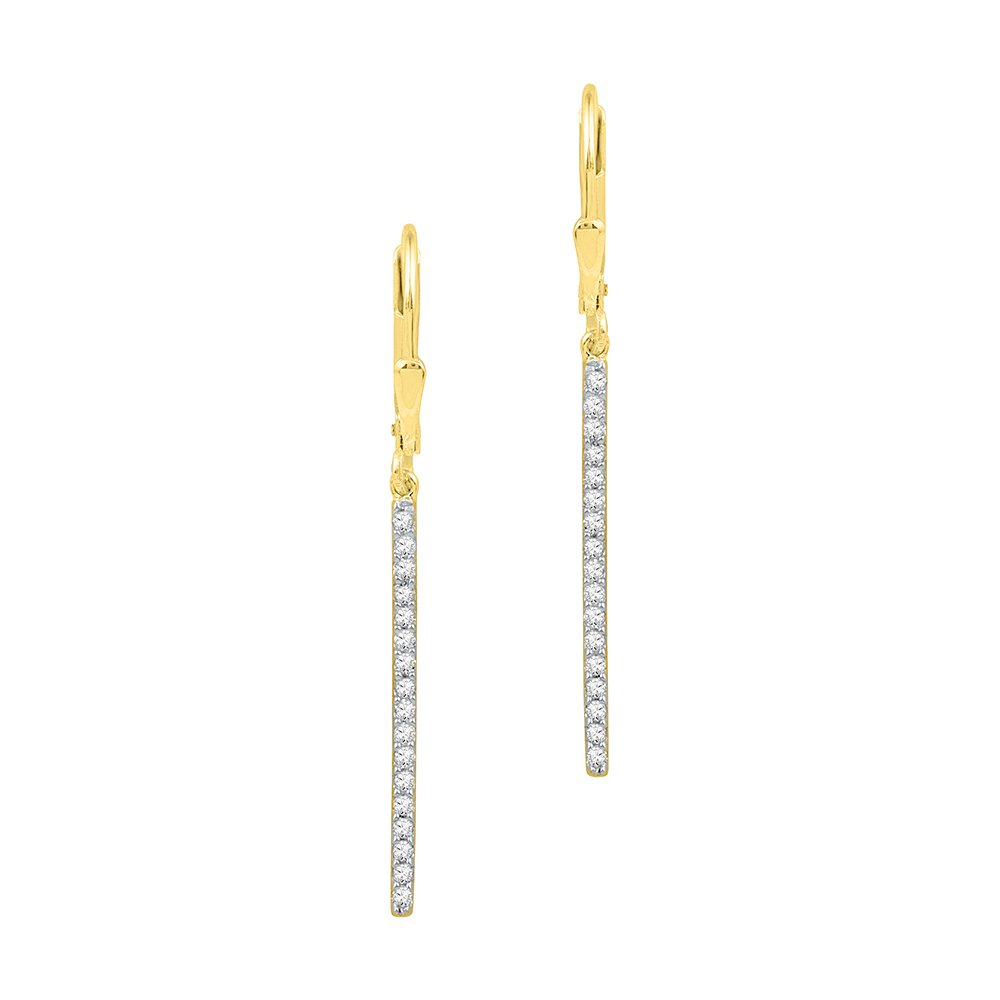Diamond Bar Dangle Earrings 10k Yellow Gold Stick Hanging Design Fashion Style Polished Fancy 1/4 Cttw by GemApex
