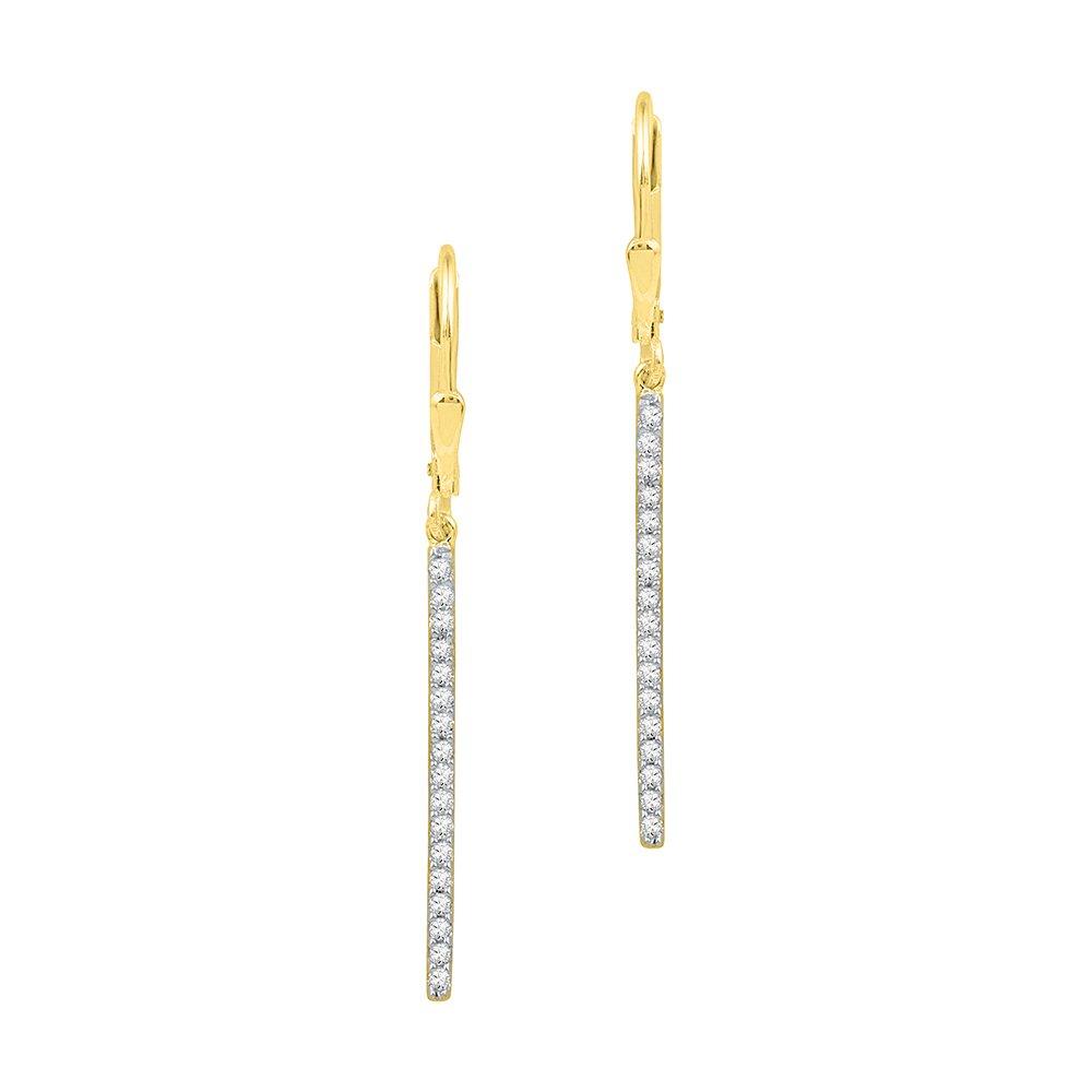 Diamond Bar Dangle Earrings 10k Yellow Gold Stick Hanging Design Fashion Style Polished Fancy 1/4 Cttw