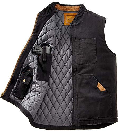 Venado Concealed Carry Vest for Men - Heavy Duty Canvas - Conceal Carry Pockets... (X-Large) Black