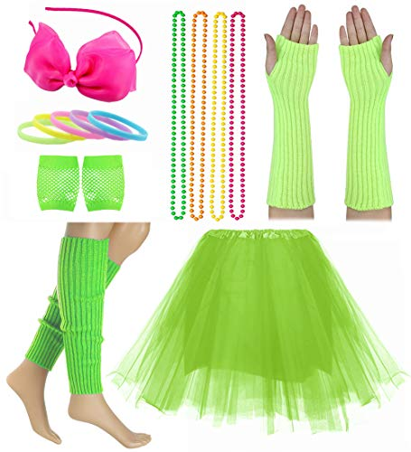 Child Girl 80's Accessories Set Tutu Skirt with Neon Bracelet Necklace Set (Green)