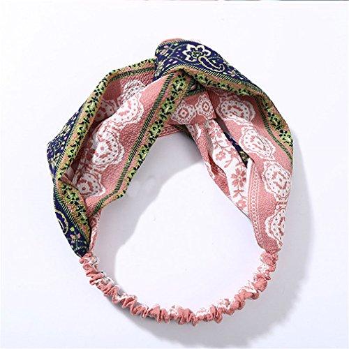 Fashion Women Knot Cloth Bandanas Print Striped Plaid Elastic Headbands Girls Head Wrap Hairbands Lady Hair Accessories Headwear Pink ()