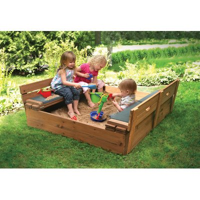 Deluxe Convertible Cedar 4' ft. Square Sandbox with Cover