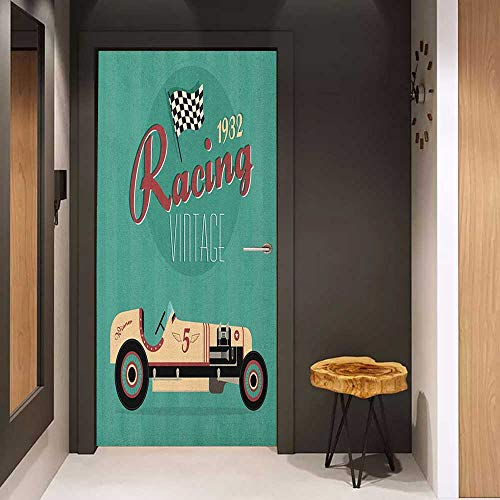 Onefzc Pantry Sticker for Door Cars Poster Print of a Classic Vintage Automobile Nostalgia Rally Antique Machine Sticker Removable Door Decal W30 x H80 Teal Ruby Cream
