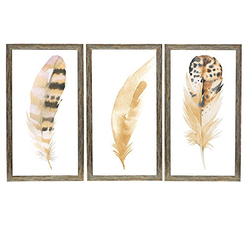 YOSEE Feather Painting Home Decor Streched and Framed Painting Ready for Hanging On The Wall Size 3-12x16Inches3-(30x40cm) ()