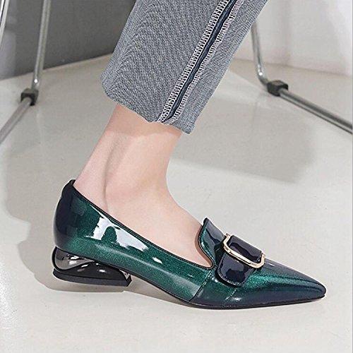 de con del Mujeres Zapatos de apuntados de ZZZJR Metal de los Perezosos Conducción Las Zapatos Cuero Planos Cómodos Zapatos la Decoración Cnqw8g