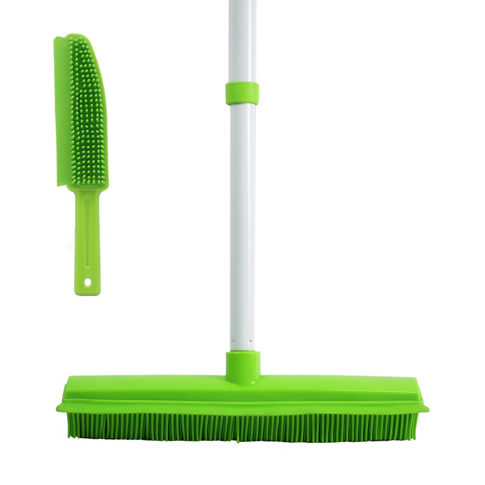 GLOYY Push Broom with Soft Rubber Bristles Squeegee Edge Use for Pet Cat Dog Hair Perfect for Cleaning Hardwood Vinyl Carpet (Rubber Broom+ Brush)