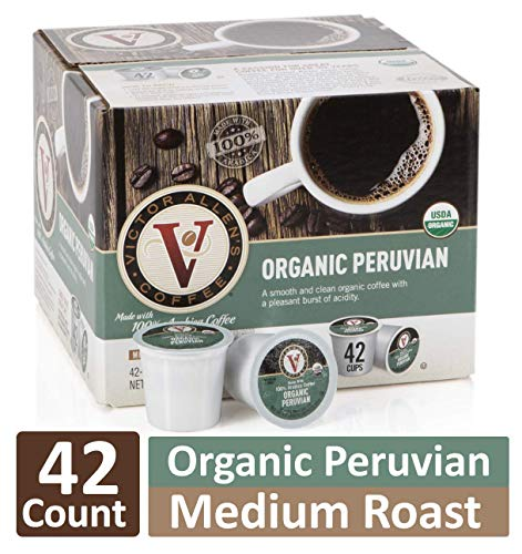 Organic Peruvian for K-Cup Keurig 2.0 Brewers, 42 Count, Victor Allen's Coffee Medium Roast Single Serve Coffee Pods