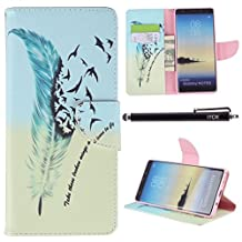 Galaxy Note 8 Case, Note 8 Case Wallet, iYCK Premium PU Leather Flip Folio Carrying Magnetic Closure Protective Shell Wallet Case Cover for Samsung Galaxy Note 8 with Kickstand Stand - Feather Bird