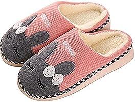 SAGUARO® Winter Baumwolle Pantoffeln Plüsch Wärme Weiche Hausschuhe Kuschelige Home rutschfeste Slippers mit Cartoon für...
