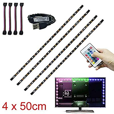 NBWDY Bias Lighting for TV. Decorative Light/LED Strip Lights/Backlight Kit/Ambient Lighting for Home-Theater,Under Cabinet, Furniture, Decoration (Multi-Color RGB, Remote Control)