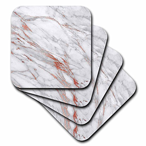 3dRose cst_265473_3 Copper Metal Foil and Ombre Gemstone Grey Marble set of 4 Ceramic Tile Coasters