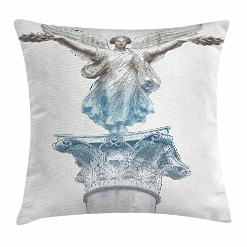 Athens Sofa (Toga Party Throw Pillow Cushion Cover by Ambesonne, Antique Muse Statue Athens Hellenistic Period Mythological Monument Art, Decorative Square Accent Pillow Case, 26 X 26 Inches, Pale Blue Umber)