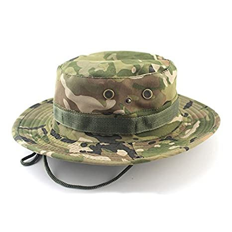 Amazon.com   ALWLj Women Men Casual Camouflage Bucket Hat with String  Summer Fisherman Cap Military Panama Safari Outdoor Sun Hats Cap   Sports    Outdoors ad8e3723976
