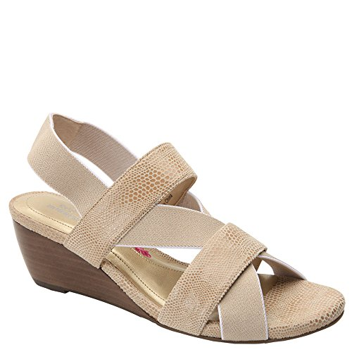 Ros Hommerson Women's Wynona Strappy Wedge Sandal,Nude Leather,US 8 WW