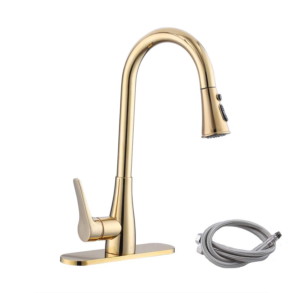 KES cUPC NSF Certified BRASS Singel Handle Pull Down Kitchen Faucet with Retractable Pull Out Wand, High Arc Swivel Spout, Titanium Gold, L6910LF-PG