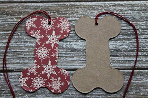 (10 Dog Bone Shaped Tags Red with SNOWFLAKE.paper+chipboard tags pre-strung)