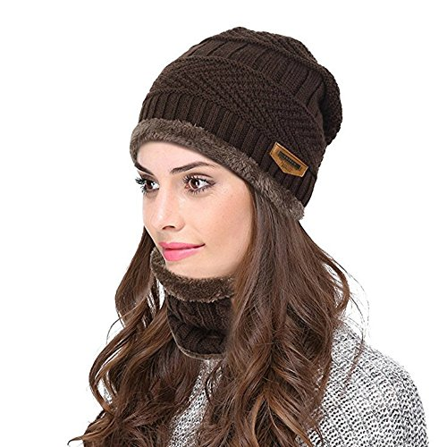 3922fcaaf29104 BUUFAN Chic Brown Winter Beanie Outerdoor Hat Scarf Set Warm Knit Hat Thick  Knit Skull Cap For Men Women - Buy Online in Oman. | Apparel Products in  Oman ...