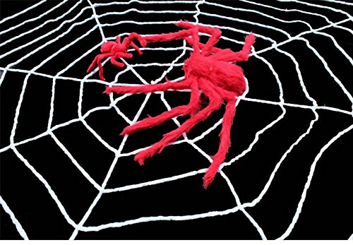 Spider Web Gloves With Fingers (Halloween Supplies/Haunted House furnishings/Bar Decoration/Big plush spider web-B)