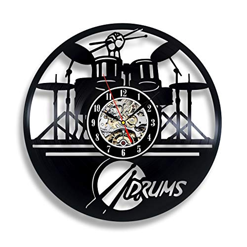 Drummer Gift Ideas Clock for Boyfriend Drumset Ornament Niece Gifts Teenager Art Decorations Drums Watch Artwork Drum Set Wall Decor ()