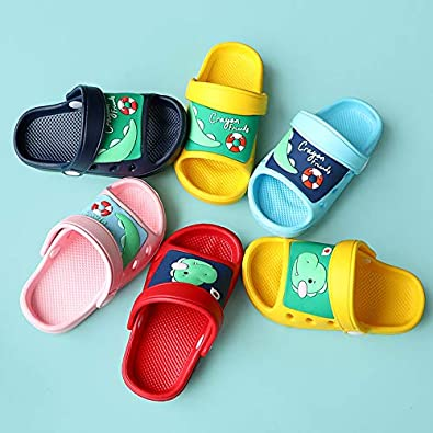 SMajong Kids Garden Clogs Boys Girls Lightweight Open Toe Beach Pool Slides Sandals Toddler Non-Slip Summer Slippers Water Shoes