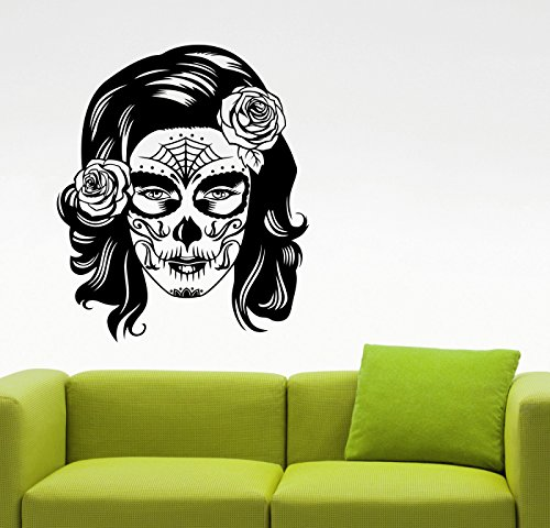 Woman Face Sugar Skull Wall Decal Vinyl Sticker Mexican Makeup Art Home Interior Decorations Living Room Bedroom Beauty Salon Decor (Homemade Halloween Decoration Ideas For Outside)