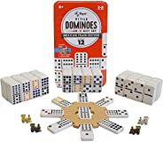 Regal Games Double 12 Colored Dot Dominoes Mexican Train Game Set with Wooden Hub, 91 Domino Tiles, 4 Metal Tr