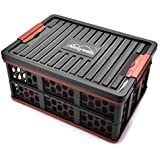 ALEZYWELS Collapsible Car Trunk Organizer and Storage Box, Perfect for SUV, Auto, Vehicle, Family Vans, Travel and Camp (Black)
