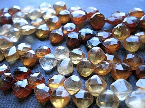 - Hessonite Garnet Faceted Diamond briolettes 8 inch Full Strand 7mm - 8mm by LadoNarayani